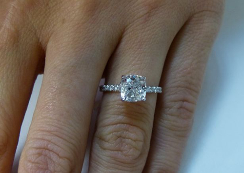 DIAMOND MANSION Natural Round Cut Twisted Pave Diamond Engagement Ring GIA Certified